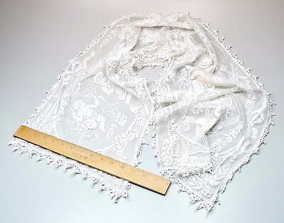 Antique Handmade Filet Burato Figural Cherubs Lace Runner Vanity Scarf AS IS