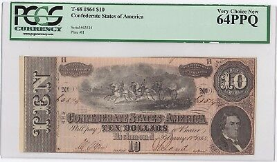 T-68 1864 $10 CONFEDERATE STATES Civil War Currency PCGS 64 PPQ Great Old Note!