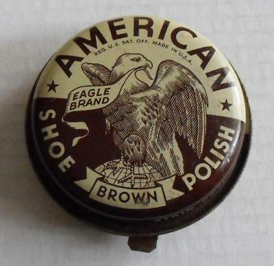 Vintage Tin American Eagle Brand Shoe Polish Brown #3