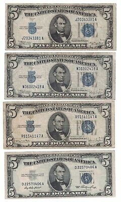 1934 A, 1934 C, 1934 D, & 1953 (4 Notes) 5 Dollars Silver Certificate