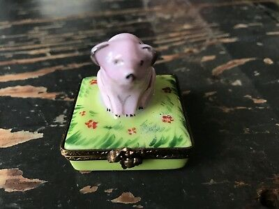 Antique Limoges Box with Small Pink Pig