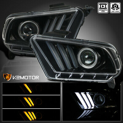 Fit [Jet Black] 2010-2014 Ford Mustang Sequential LED Bar Projector Headlights