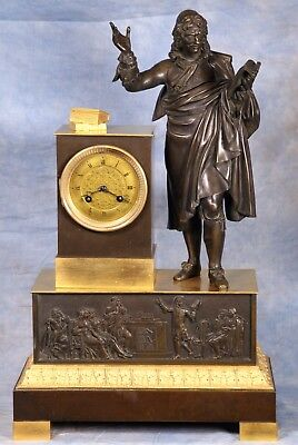 Large French Empire Moliere Statue Bronze Ormolu Gilded and Patina Clock Pendule