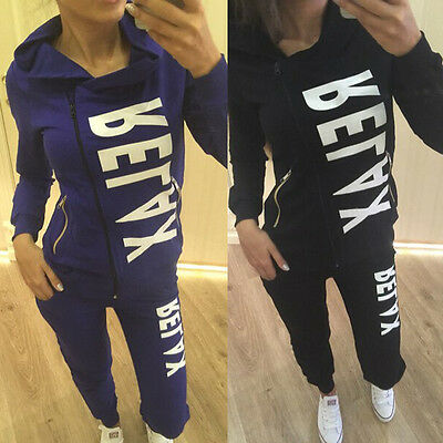 Sexy Women Sports Tops Sweatshirt+Pants Track&Sweat Suits 2Pcs Tracksuit Outfit