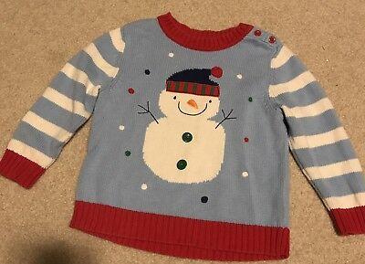 Hanna Andersson Snowman Sweater Size 100 4 5 Unisex Red Blue Adorable Winter