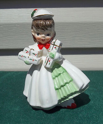 Vtg NAPCO Christmas Shopper Girl Figurine with White Coat, Hat, Presents ~1956