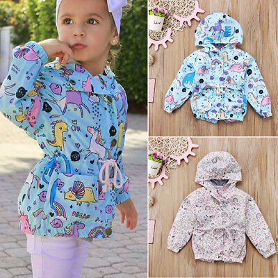 AU Stock Kids Baby Girls Unicorn Hooded Outwear Wind Jacket Hoodie Coat Clothes