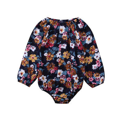 Newborn Baby Girls Floral Romper Top Bodysuit Jumpsuit Clothes Outfits AU Stock