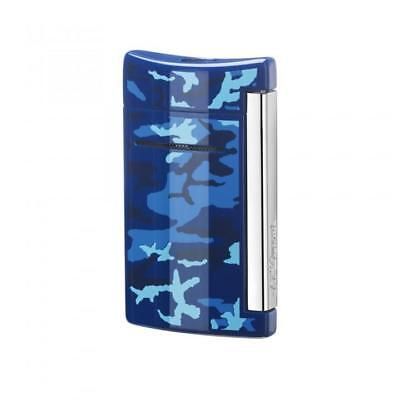 S.t. Dupont Accendino Lighter Minijet Jet Flame Camouflage Blue 010088 Offerta