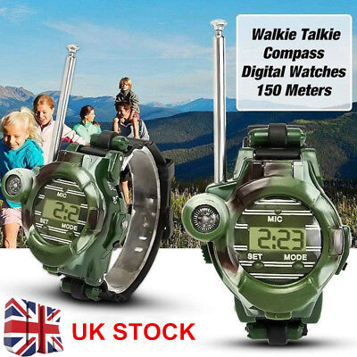 2 Pcs LCD Radio 150M Watches Walkie Talkie 7 in 1 Children Watch Radio Out Toys
