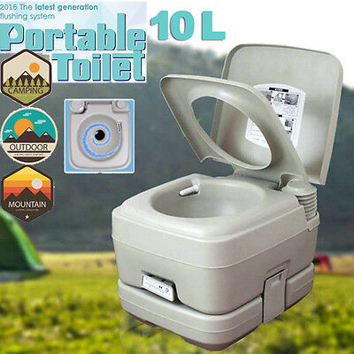 2.8 Gallon 10L Portable Toilet Travel Camping Outdoor/Indoor Potty Flush Grey US