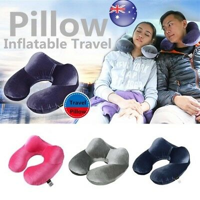 U-Shaped Inflatable Air Travel Pillow Airplane Neck Head Cushion Office Nap Rest