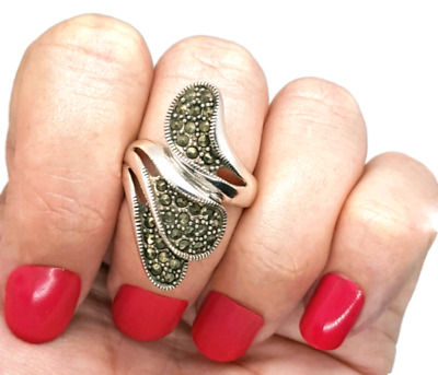 Marcasite wrap around Ring, Sterling Silver, Size 8 3/4 US, NEW