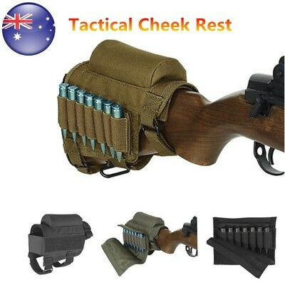 Tactical Rifle Gun Buttstock Cheek Rest Pad Ammo Carrier Case Holder Cartridges