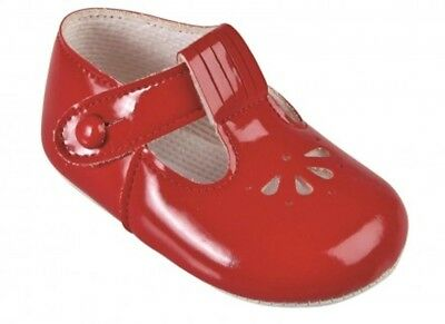 Traditional Spanish Romany Style Baby Girls Pram Shoes Patent Red by Baypods
