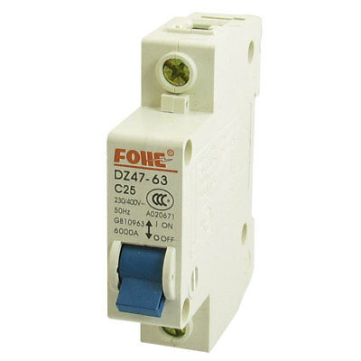 AC 230V 400V 25A 1 Pole 1P On/Off Switch Miniature Circuit Breaker DZ47-63 C25