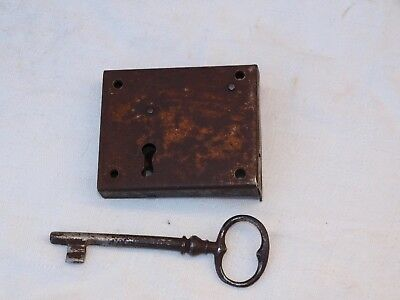 Antique Metal Door Box Trunk Cabinet Rimlock Rim Lock With Working Key