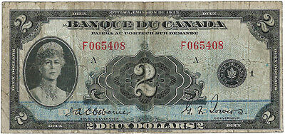 2 dollars bank of Canada ( French Text) BC-4 1935, Rare banknote