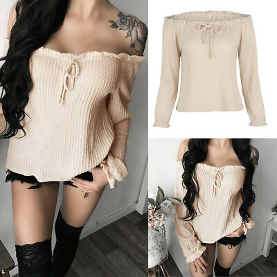 Fashion Women's Off Shoulder Long Sleeve Shirt Loose Casual Blouse Tops T-Shirts
