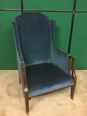 Antique Edwardian Wingback Arm Chair With Inlaid Detailing