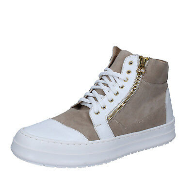 mens shoes FDF SHOES 8 (EU 42) sneakers white gray leather suede BZ391-C