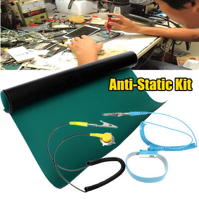 50x60CM Green Desktop Anti Static ESD Grounding Mat + Wrist Strap + Ground Wire