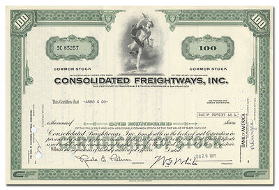 Consolidated Freightways, Inc. Stock Certificate (Freightliners)