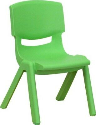 Green Plastic Stackable School Chair with 10.5'' Seat Height Lightweight Design