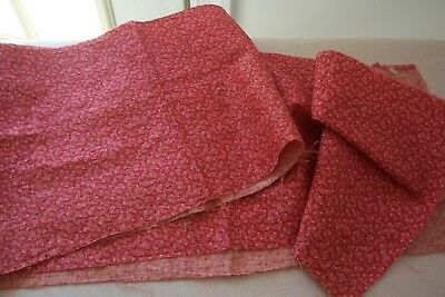 Vtg Antique 19th 1850-1860 Civil War Calico Fabric  Double Pink QUILT DOLL