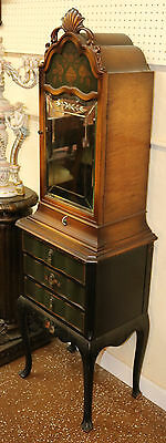 Rare Green Paint Etched Mirror Petite Jewelery Cabinet Stand C1920