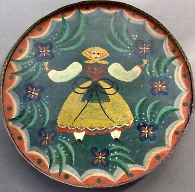 Vintage Pennsylvania Dutch Hand Painted Decorative Wooden Tray