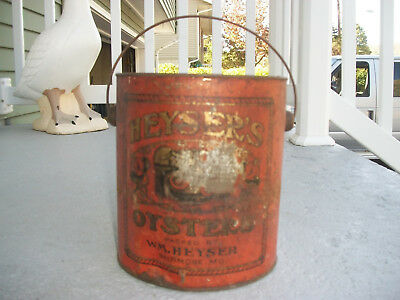 Rare Antique Gallon Heyser's Oyster Tin Can With Bail Handle