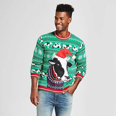 Men's Ugly Holiday Cow In Xmas Sweater - 33 Degrees Green L