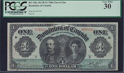 1911 Dominion of Canada $1 Banknote - Nice VF+ Condition - PCGS VF30
