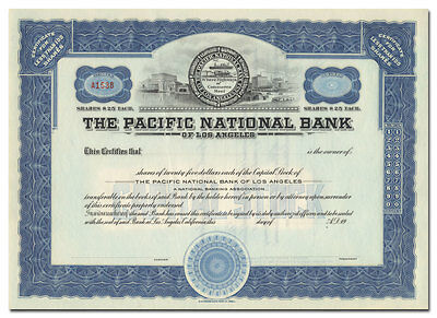 The Pacific National Bank of Los Angeles Stock Certificate
