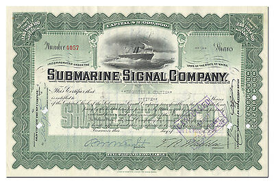 Submarine Signal Company Stock Certificate (Merged with Raytheon)