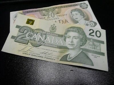 Canadian  old banknotes - Two - $20's