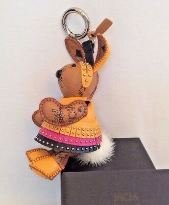MCM Visetos Cognac Canvas Large Rabbit Bag Charm/KeyHolder 5.5 NEW W BOX BAG&tag