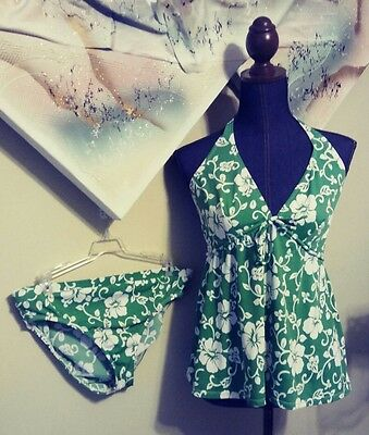 Motherhood Maternity Halter Two Piece Floral Green And White Swimsuit Size M