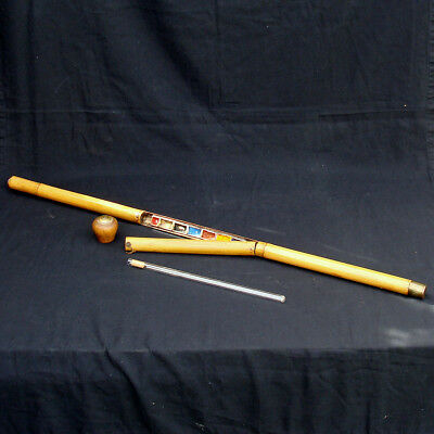 Vintage Novelty Gadget Cane Walking Stick Bamboo Artist Travel Painting Palette