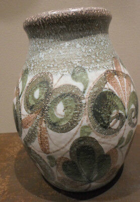 Vintage Denby vase, green abstract floral, Glyn Colledge studio pottery