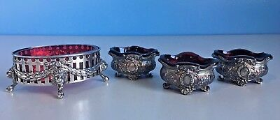 Black Starr & Frost Sterling Silver Red Cobalt Ruby Glass Lion Head Salt Cellars