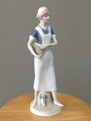 "Nao by Lladro 12"" Porcelain Nurse Figurine Holding Books Ardalt hallmark RETIRED"