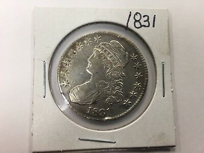 1831 Capped Bust Silver Half Dollar ~ Rare Key Date ~ Nice Toning on Reverse