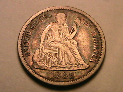 1868-P Original Toned XF Extra Fine Seated Liberty 10 Cents Dime Silver USA Coin