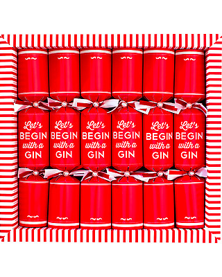 Paperluxe Lets Begin with a Gin Xmas Crackers Red bottle 180mL