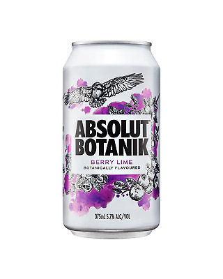 Absolut Botanik Berry Lime & Vodka Cans 375mL case of 24