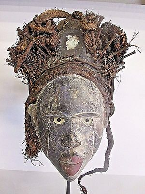 Rare Punu African Tribal Mask W/ History From Our Expert_ Glass Eyes Plus One
