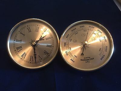 Five Barometer And Fiveclock Inserts 108Mm / 4 1/4 Inch Gold Colour