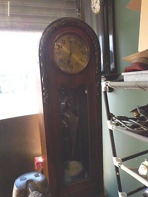 "1900's oak grandfather clock, chimes 80"" tall"
